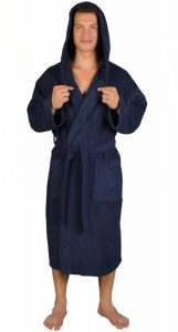 Arus Men's Classic Hooded Bathrobe Turkish Cotton Terry Cloth Robe