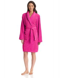 Seven Apparel Hotel Spa Collection Popcorn Jacquard Bath Robe, One Size, Dark Pink