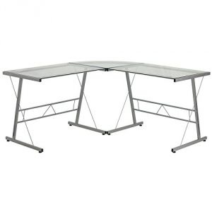 Glass L-Shape Computer Desk with Silver Frame Finish
